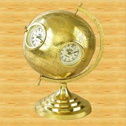 Brass Globe With Clock