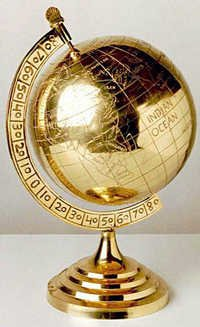 Brass Globe With Gold Plate