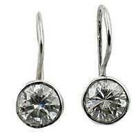 Simple Design Cubic Zirconia Silver Earrings