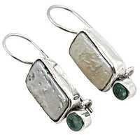 Rocking Style Apatite Pearl Silver  Earrings