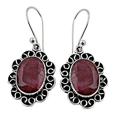 Designer Ganesha Died Ruby Silver Earrings