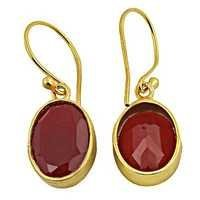 Indian Design Red Onyx Gold Plated Silver Earrings