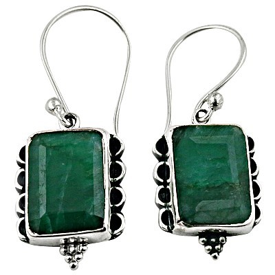 Hot Selling Dyed Emereld Silver Gemstone Earrings
