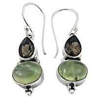 Classy Prenite Smokey Quartz Silver Gemstone Earrings