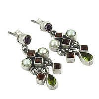 Attrective Multi Stone Gemstone Silver Earrings