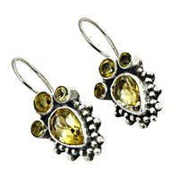 Unique Citrine  925 Sterling Silver Earrings