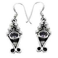 Gemstones Suppliers Amethyst Silver Earrings
