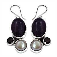 Fashionable Amethyst Garnet Mabe Pearl  Silver Earrings