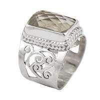 Classic Leman Gemstone Fret Work Silver Ring