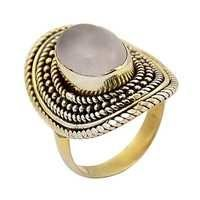 Romentic Rose Quartz Gemstone Gold Plated Silver Ring