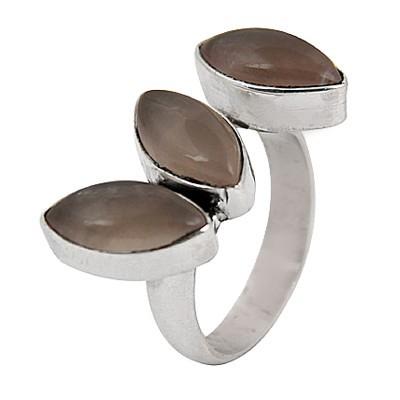 Newest Style Fashionable Rose Quartz Gemstone Silver Ring