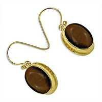 Latest Style Silver Earrings With Tiger Eye