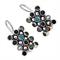Lovely Multi Stone Sterling Silver Earrings