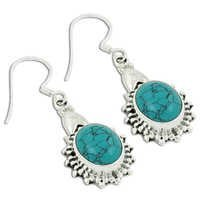 Traditional Synthetic Terquoise Gemstone Earrings