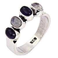 Amethyst & Rainbow Moonstone Silver Ring