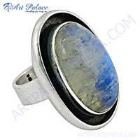 Stylish 925 Sterling Silver Ring With Rainbow Moonstone
