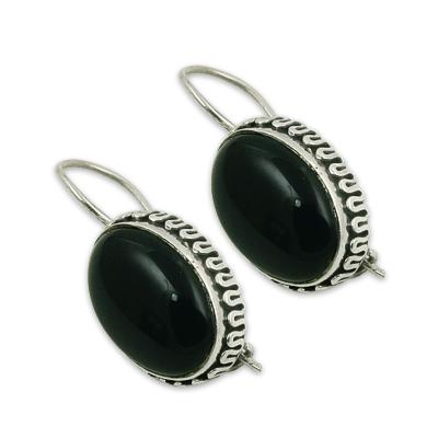 Women's Deep Dark Black Onyx Silver Gemstone Earrings