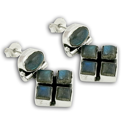 Exclusive Labradorite Silver Gemstone Earrings
