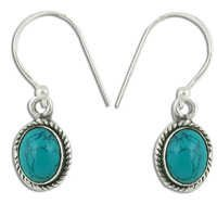 Antique Style Silver Synthetic Terquoise Gemstone Earrings