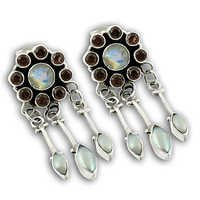 High Quality Multi Stone Silver Earrings