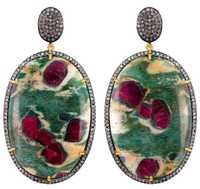 Gemstone Pave Diamond Oval Shape Dangle Earrings