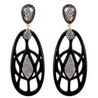Black Onyx Carving Pave Diamond Earrings