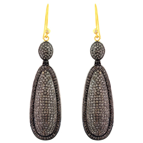 Gold Pave Diamond Silver Wedding Earrings
