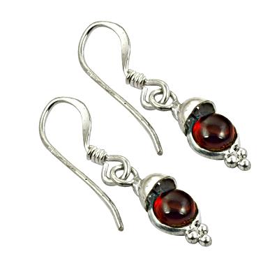 Festive Jewelry Garnet Gemstone Silver Earrings