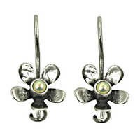 Flower Style Silver Earrings With Pearl