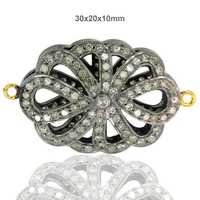 14k Gold Diamond Pave Flower Style Connector