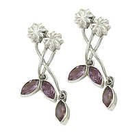 Stylish 925 Sterling Silver Earrings With Amethyst