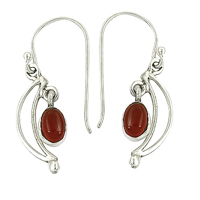 Pretty Carnelian Gemstone Silver Earrings