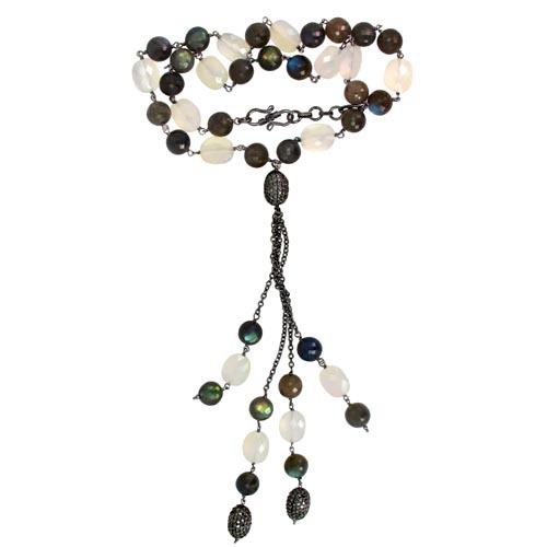 Pave Diamond Ball Gemstone Beads Necklace