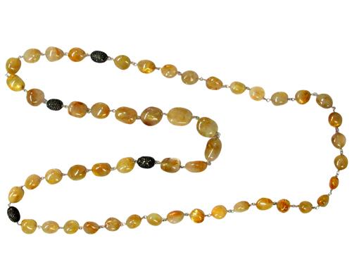 Pave Diamond Gemstone Silver Necklace