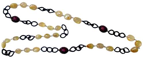 Diamond Gemstone Balls Chain Necklace