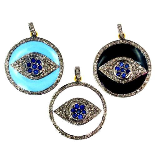 Blue Sapphire Gemstone Pave Diamond Evil Eye Pendant