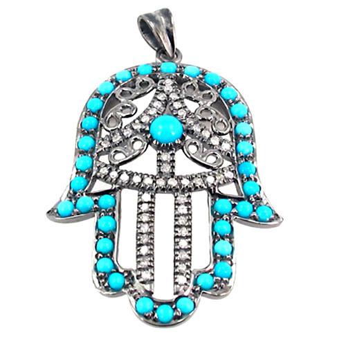 925 Silver Turquoise Gemstone Hamsa Pendant
