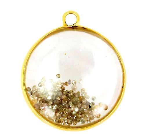 14K Gold Crystal Diamond Shaker Pendant
