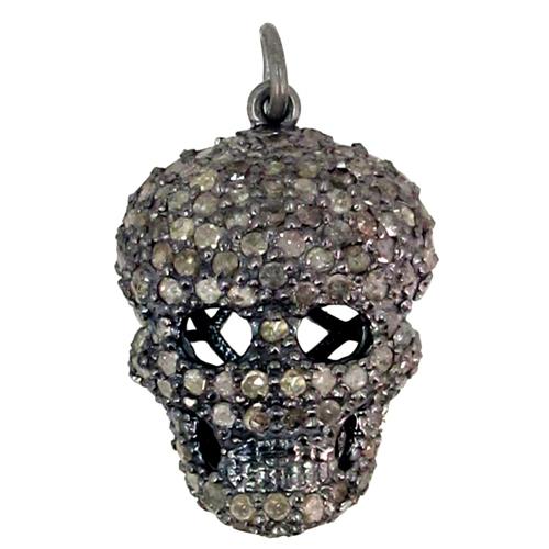 Pave Diamond Skull Charm Silver Pendant