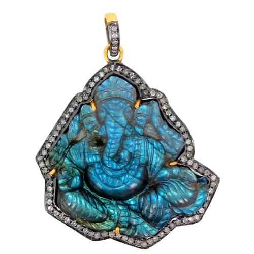 Lord Ganesha Labradorite Carving Gold Diamond Pendant