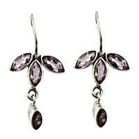 Three Leaves Shape Earring With Amethyst