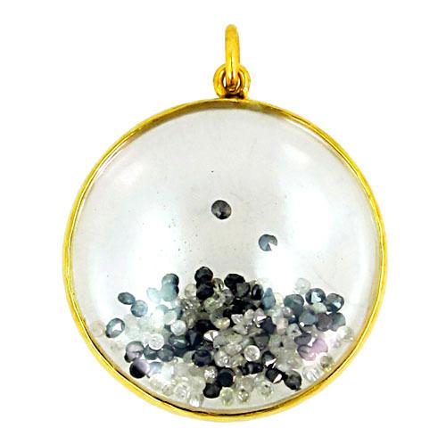 Black White Diamond Crystal Fashion Shaker Pendant