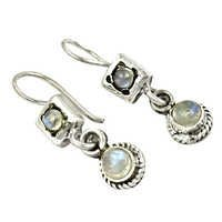 Cool Rainbow Moonstone Gemstone Silver Earrings