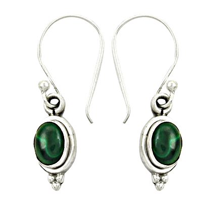 Unique Beautiful Malachite Gemstone Silver Earrings