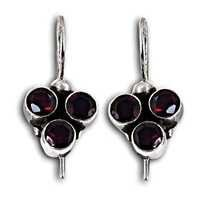 Designer Jewelry Silver Earrings With Garnet