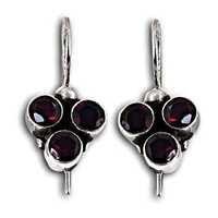Designer Jewelry Silver Earrings With Garnet