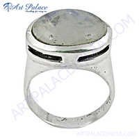 Latest Style Silver Ring With Rainbow Moonstone