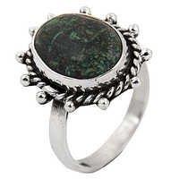 Hot World Large Antique Silver Turquoise Gemstone Ring
