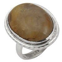 Ingenious Big Rutilated Quartz Gemstone Silver Ring
