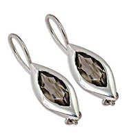 New Style Silver Smokey Quartz Gemstone Earrings